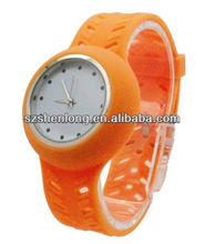 Fashion silicone watch with holes strap