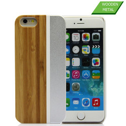 Express hard metal bamboo wood cover for iphone accessories