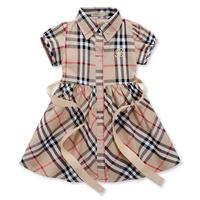 Latest children Girls Brand New Summer Plaid dress designs cotton baby dress