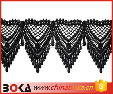 BOKA black embroidery triangle pendant cotton lace for wedding or dress decoration
