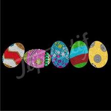 Fashion Custom Colorful Easter Eggs Hot Fix Motif Rhinestone Transfer For T Shirts