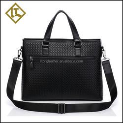 Fashion creative genuine leather shoulder laptop bag handles leather