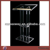 Transparent acrylic pulpit with cross for church