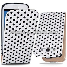 Polka dot mobile phone leather flip case for Samsung Galaxy S3 i9300 case