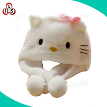 cheap plush animal hat scarf white teddy bear hat with scarf