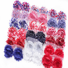 Patriotic Day,Chiffon Fabric Flower,Chiffon Rose Flag Shabby Flower In Stock 4th of July