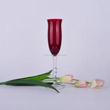 Handmade Red colored champagne flute glass