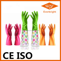 CE ISO bulk flock lined latex household gloves price for kitchen garden washing cleaning medical