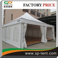 low price frame Hot sale high peak Exhibition wooden floor pagoda tent 14x14m for 150 people