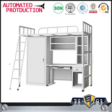 Knock Down Modern School Furniture Bunk Bed with Desk and Wardrobe