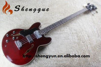 Left Hand Hollow Body Red Electric Bass Guitar