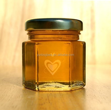 1.5 oz hexagonal glass jar with lid for wedding favors honey