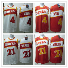 #21 Dominique Wilkins Jersey #4 Spud Webb Jersey Wholesale Cheap Throwback Basketball Jersey