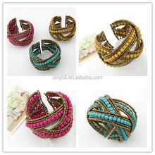 Bohemia seedbead irregular cuff bracelet 2014 fashion jewelry bangle with three colors at stock