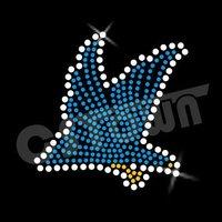 Blue Flying Hawk Pattern Hot-fix Motif