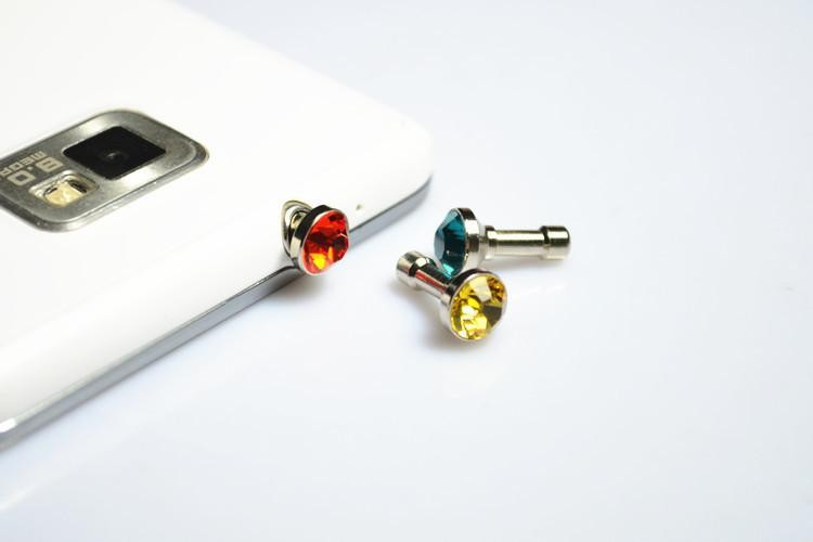 10X Bling Diamond 3.5mm Earphone Jack Anti Dust Plug Cap Stopper For IPHONE 5 4S Samsung Htc