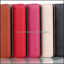 hot selling wallet card holder case cowhide real leather case for iphone6