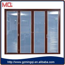 Glass bi folding sliding patio door with built-in blinds