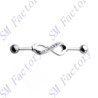 industrial barbell infinity symbol with crystals 316l surgical steel ear rings body piercing jewelry --SMEDP54012