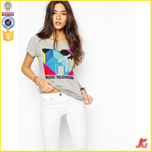 customized high quality cotton women t shirt printed factory