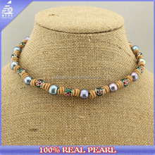 NK-01285 fashion jewelry 10-11mm AA pearl and 10mm alloy accessories leather pearl necklace