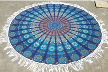 100% Cotton Terry Towelling Mandala Beach Towel Round With Tassel