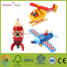 Factory Sale Magnetic Kid Wooden Rocket Aircraft Toy Model