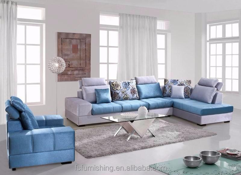 Md660 2015 new design luxury light blue velvet fabric living room