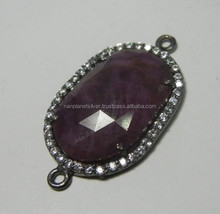 Stunning Sapphire Black Rhodium Plated Sterling Silver Setting With Cz-- Sapphire Double Bail Connector Pendant