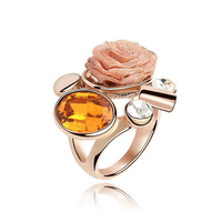 Indian Bridal Gold Jewellery Designs Rose Ring Made With Swarovski Element Crystal