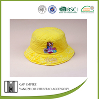 BSCI Audit yellow girl&dog printed and embroidered cotton kids sexy girls hat