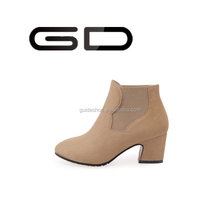 GD high quality cheap sweet black red blue ankle boots round toe low heels soft women shoes short snow boots