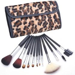 Wholesale 12 PCS Makeup Brushes Set Eyebrow Pencil Lip Liner Leopard Holder Bag SV011063