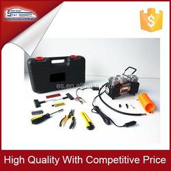 Car tire repair tool kit in plastic box