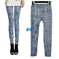 New Women Fashion Jeggings Stretch Skinny Leggings Tights Pencil Pants Casual Poet Pattern Jeans