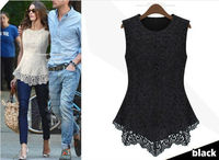 2015 Spring Summer New Fashion Women Lined 100% Cotton Lace European American Sexy Sleeveless tops dress