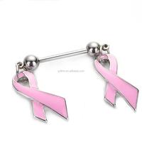 DDQ15759 Pink Awareness Ribbon Bar Nipple Shields Rings Women Piercing Jewelry