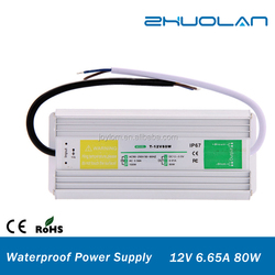 ac 90~250v to dc 12v 6.65a 80w china supplies waterproof led power supply