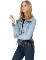 High Fashion Latest Dirty Wash light blue denim Cropped Jacket Wholesale for women
