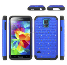 2015 Best selling solid armor PC+Silicone Case for Samsung Galaxy S5 i9600 Luxury rhinestone