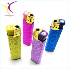 Customized paper rhinestone lighters crystal auto cigarette gas lighter importers
