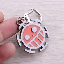 One Piece Smile face keychain meaningful Red metal keyring