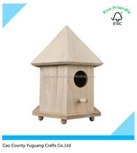 Natural Wood 6 Sides Small Wooden Bird House