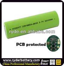 High performance ultrafire 18650 2600mAh 3.7V Protected rechargeable Li-ion battery