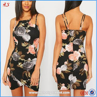 Latest fashion modern girls dresses women casual one piece black dresses crepe mini bodycon dress in floral print