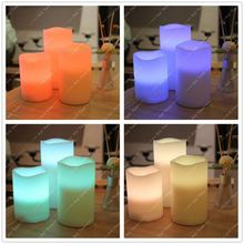 Pack Of 3 Round Edge Color Changing LED Flameless Candles with Remote