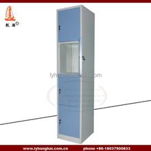 Pantone RAL7035 powder coated staff or patients Wardrobe Closet 4 door Compartment steel locker
