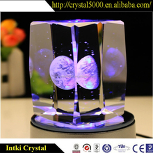 2015 light base crystal led glass 3d laser with customized logo