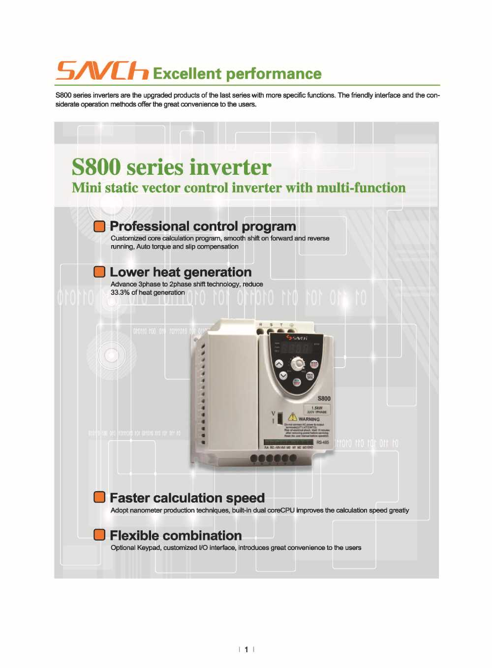 Sanch S800 compact size economic type 200v 220v 230v 240v ac single phase to 3-phase inverter