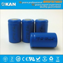 KAN Rohs certified 1.2V 2/3A 1400mAh rechargeable NiMH battery for mini rc gun, car, boat, helecopter, rc toy, R/C model